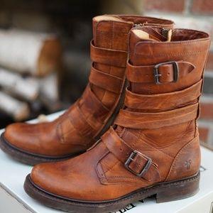 LIKE NEW, Frye Veronica Tanker Boots, 8M, Cognac